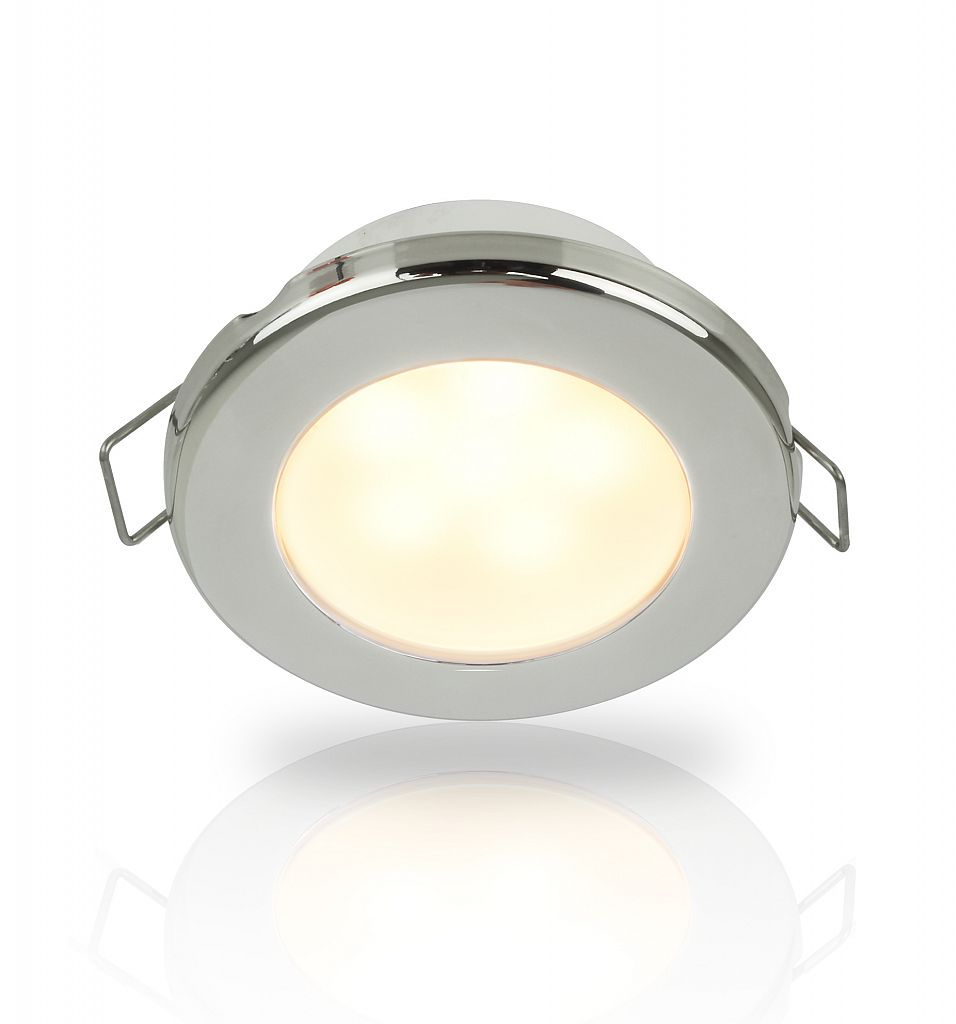 Warm white euroled 75 led down lights with spring clip interior 12v dc 316 stainless steel rim arubaitofo Choice Image