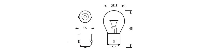 Navigation Lamp and Interior Lamp Bulbs. BA15s Base Line Drawing