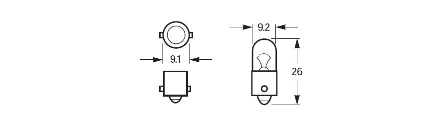 Halogen Bulb BA9s Base Line Drawing