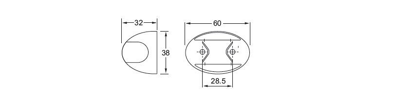 DuraLed Side Marker Lamp Line Drawing