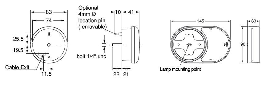 2399 Combination Trailer Lamp Kit Line Drawing