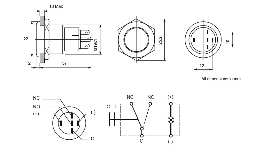 Stainless Steel LED Switches Line Drawing