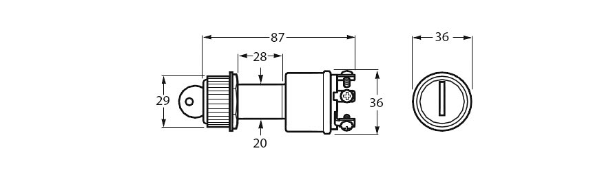 Heavy Duty Ignition Switch Line Drawing