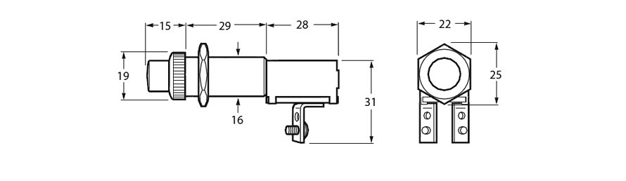 Starter or Horn Push Button Switch Line Drawing