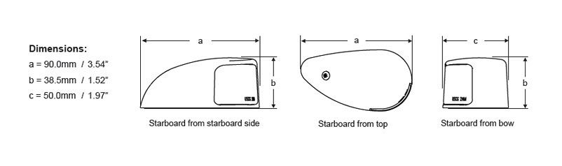 Deck Mount Navigation Lamps - Line Drawing