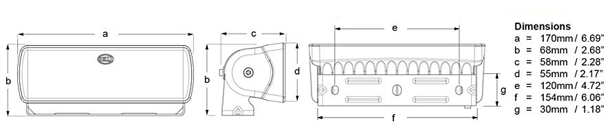 Sea Hawk-XLR LED Floodlight Line Drawing Dimensions
