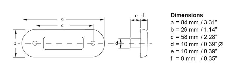 Surface Mount Oblong Line Drawing