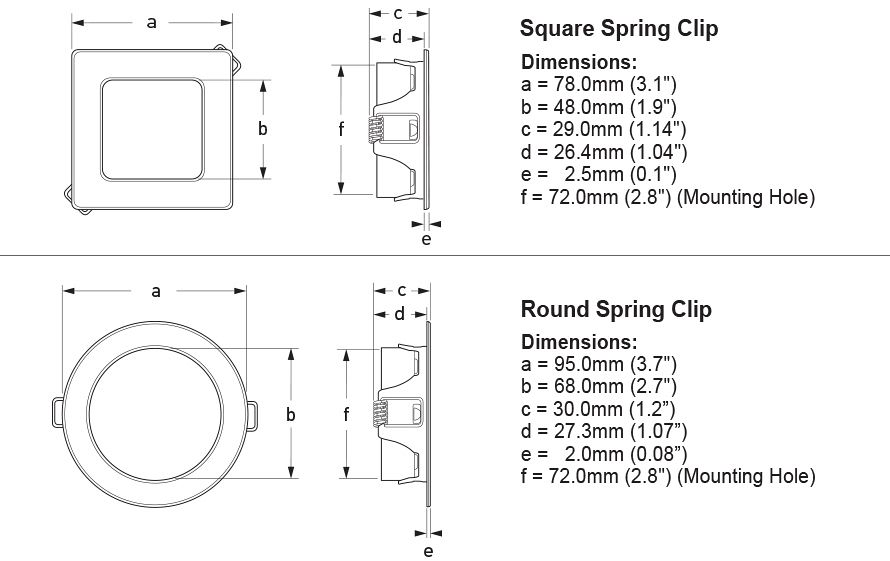 EuroLED 95 Gen 2 LED Down Lights with Spring Clips Diagrams