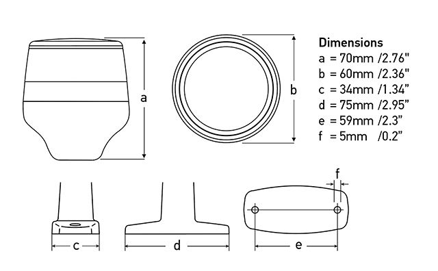 Lamp and Mounting Dimensions